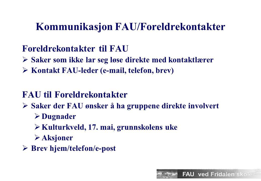 Kommunikasjon FAU/Foreldrekontakter