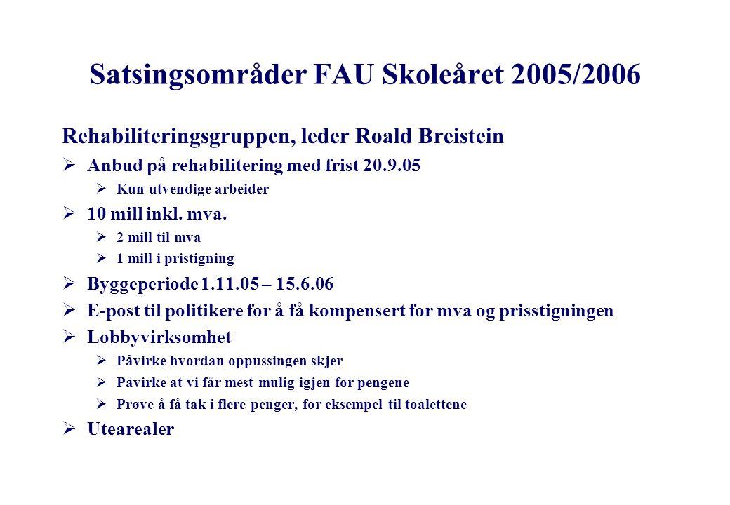 Satsingsområder FAU Skoleåret 2005/2006