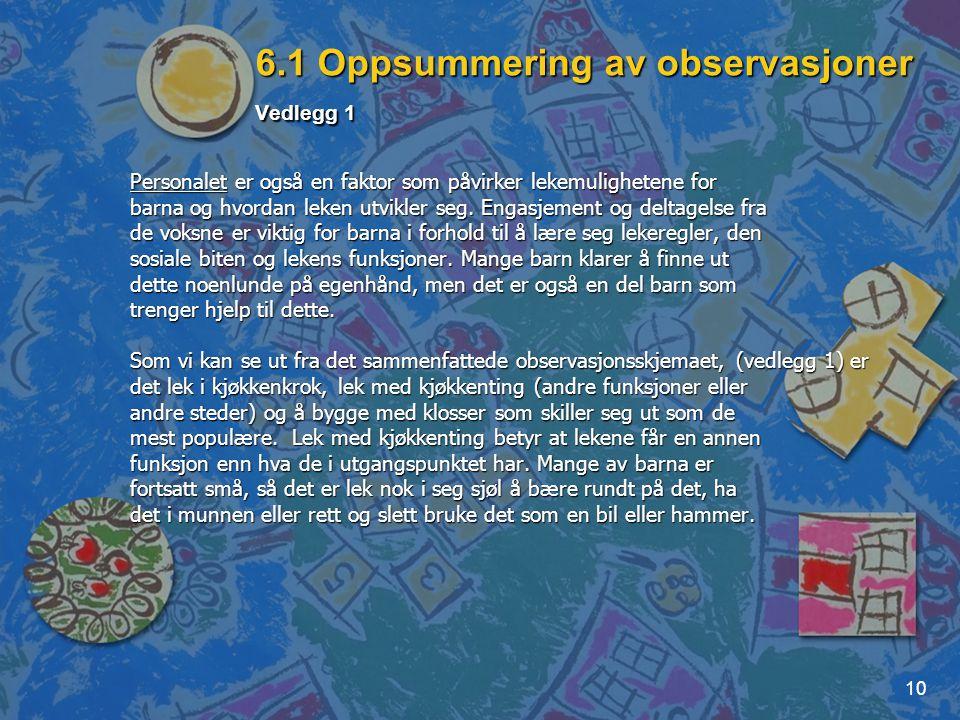 6.1 Oppsummering av observasjoner Vedlegg 1