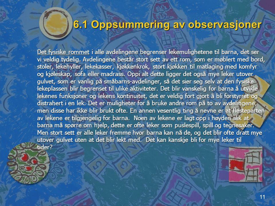 6.1 Oppsummering av observasjoner
