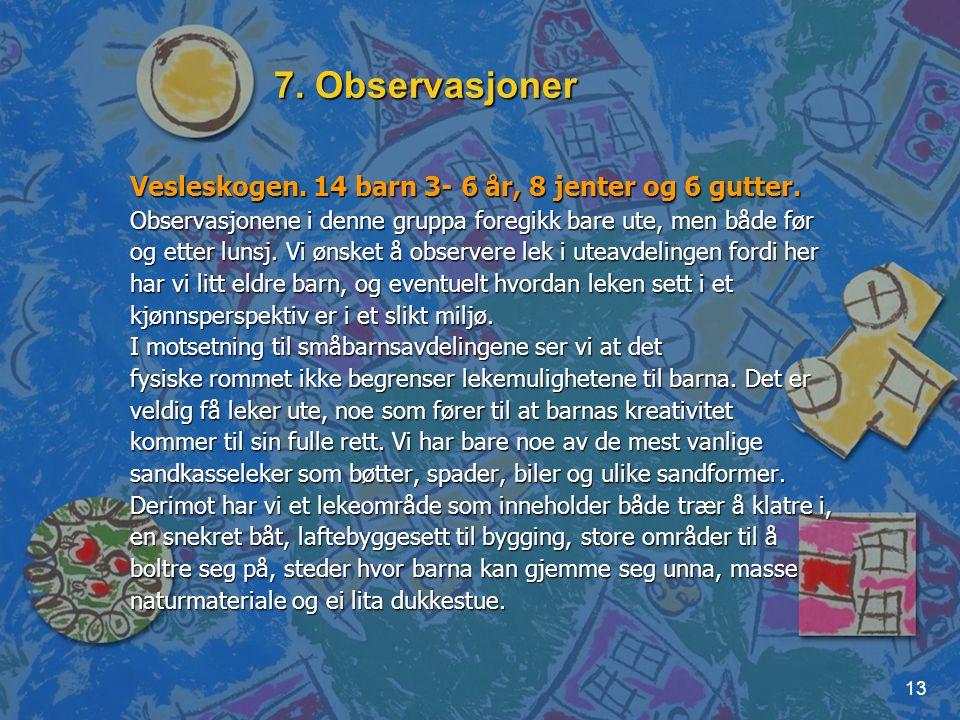 7. Observasjoner Vesleskogen. 14 barn 3- 6 år, 8 jenter og 6 gutter.