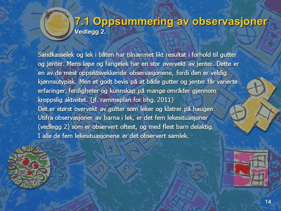 7.1 Oppsummering av observasjoner Vedlegg 2.