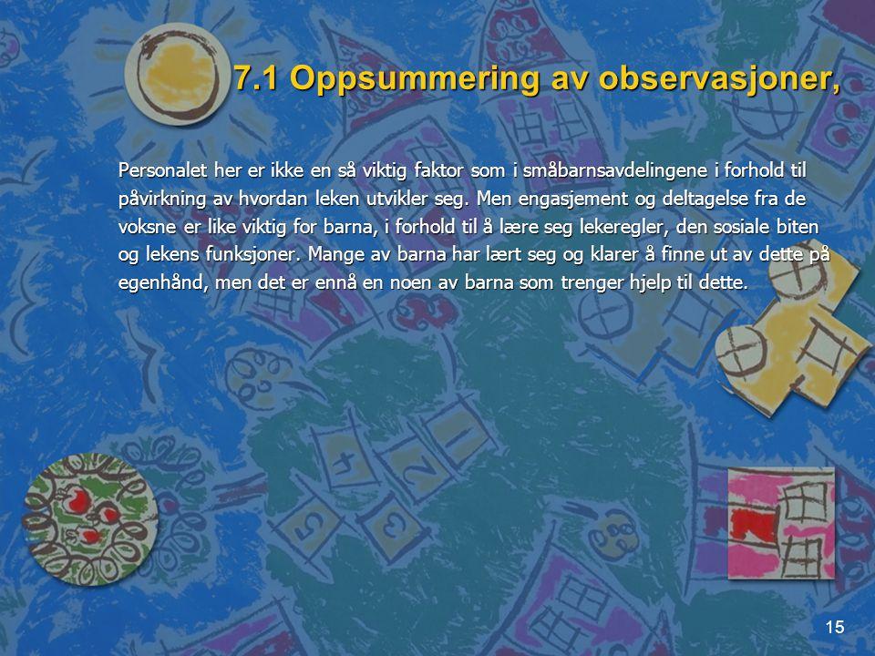 7.1 Oppsummering av observasjoner,