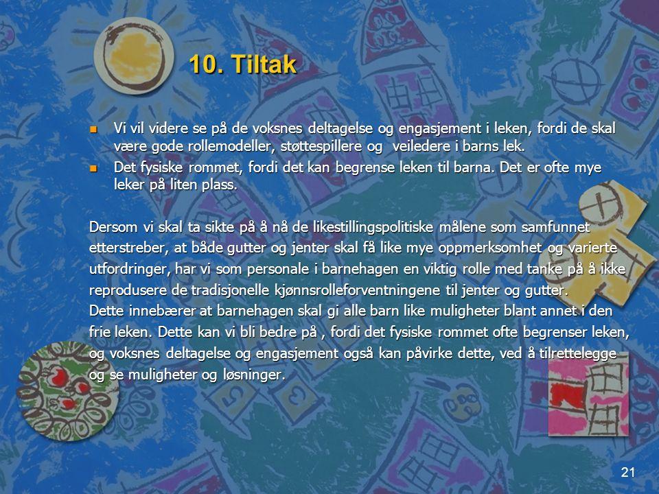 10. Tiltak