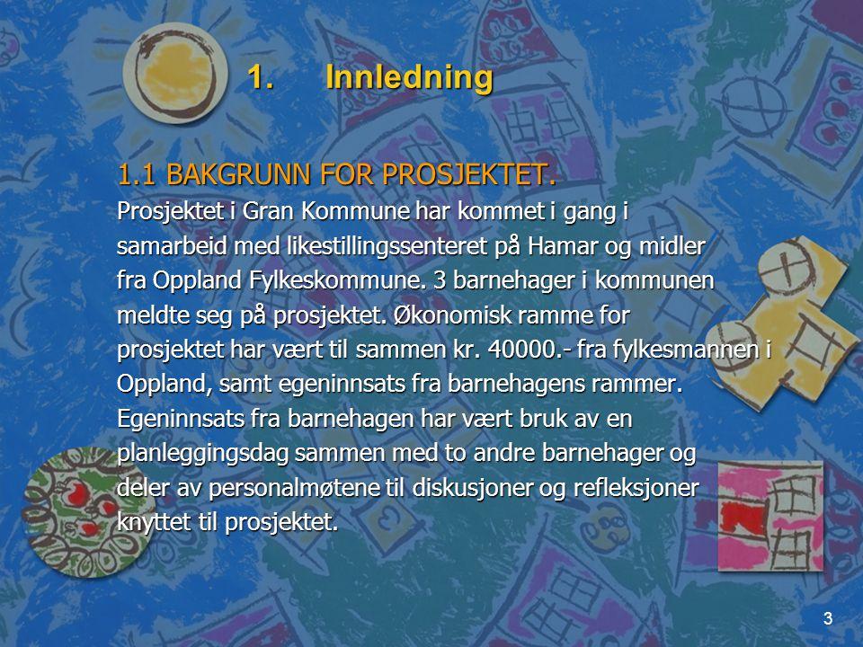 Innledning 1.1 BAKGRUNN FOR PROSJEKTET.