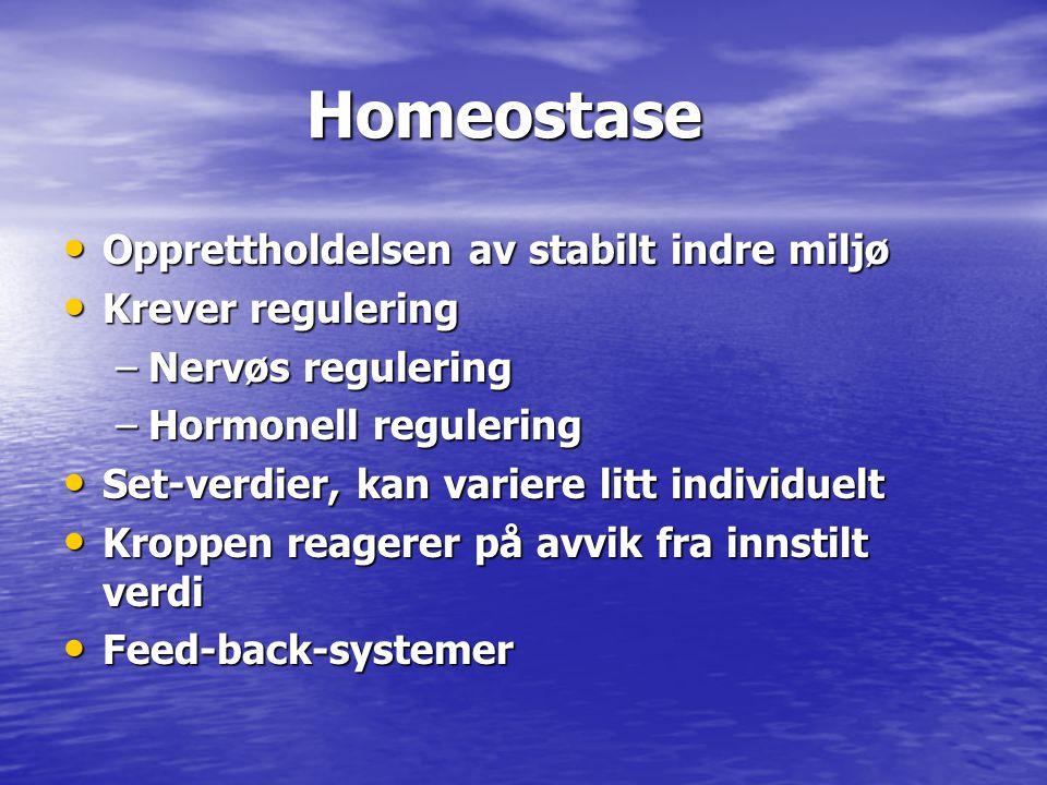Homeostase Opprettholdelsen av stabilt indre miljø Krever regulering