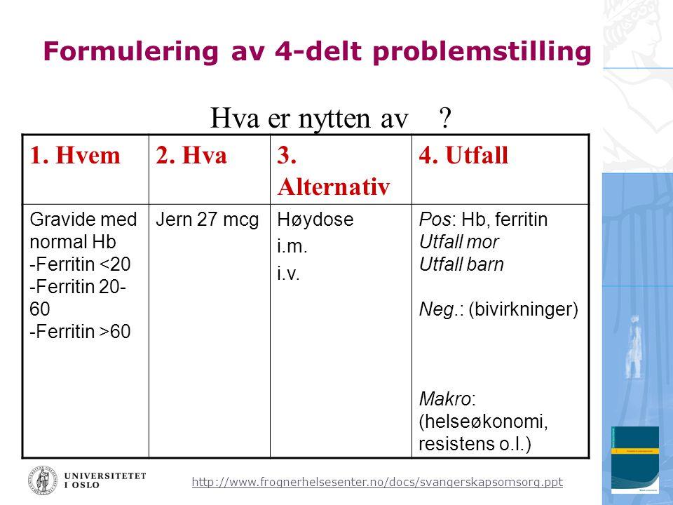 Formulering av 4-delt problemstilling