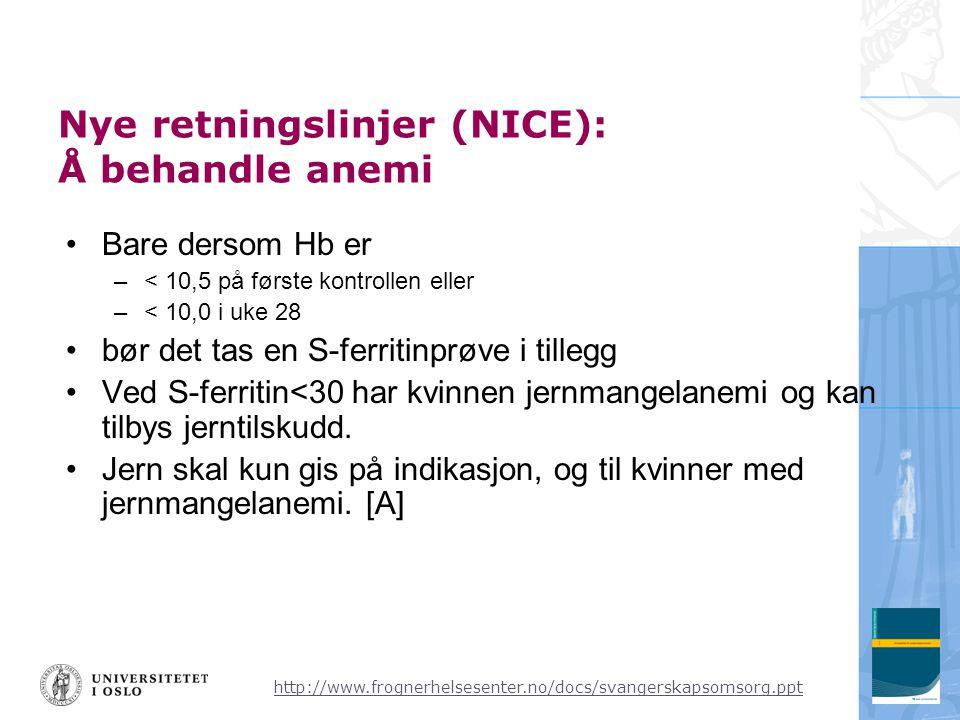 Nye retningslinjer (NICE): Å behandle anemi