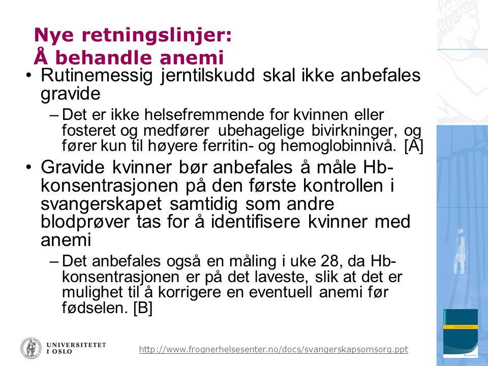 Nye retningslinjer: Å behandle anemi