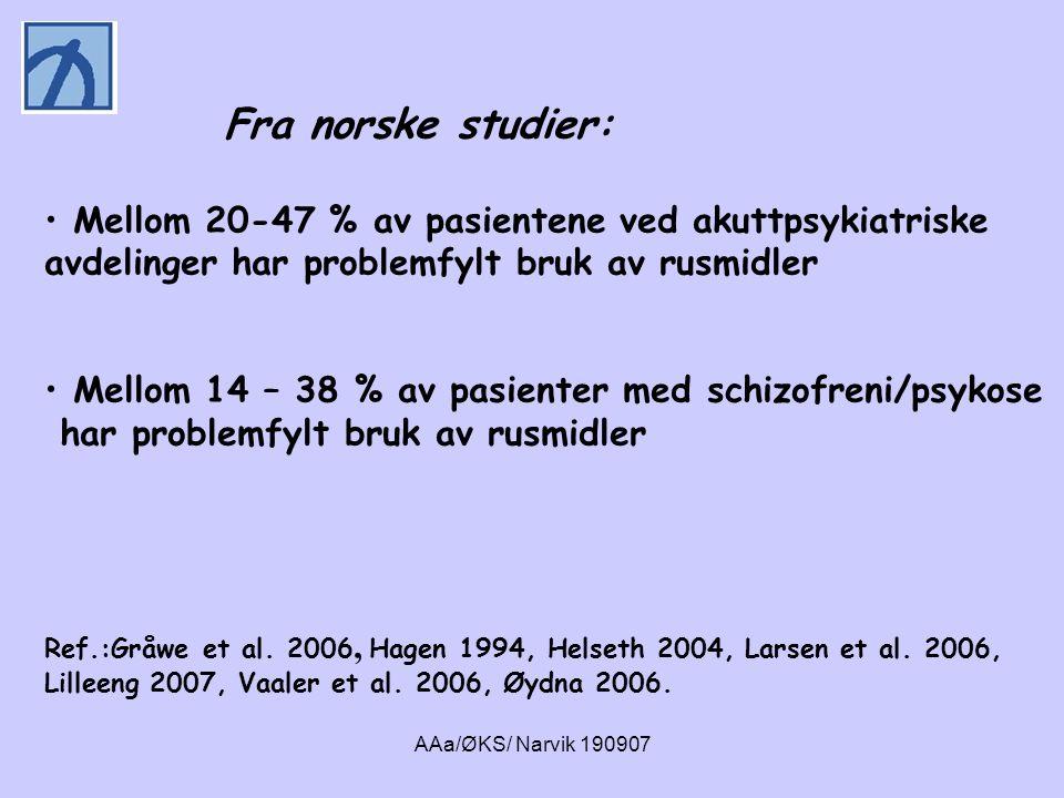 Fra norske studier: Mellom 20-47 % av pasientene ved akuttpsykiatriske