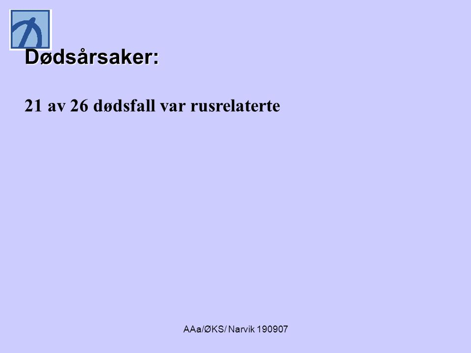 Dødsårsaker: 21 av 26 dødsfall var rusrelaterte AAa/ØKS/ Narvik 190907