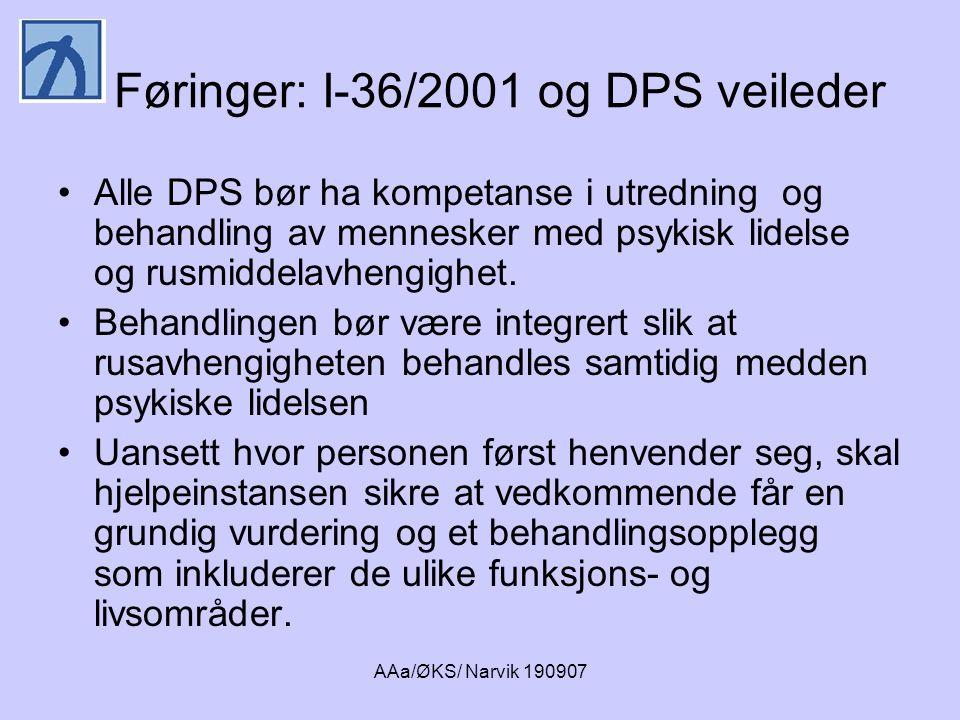 Føringer: I-36/2001 og DPS veileder