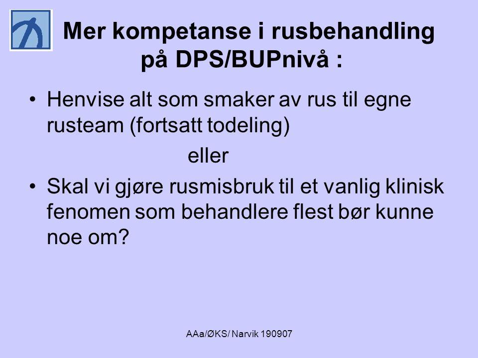 Mer kompetanse i rusbehandling på DPS/BUPnivå :