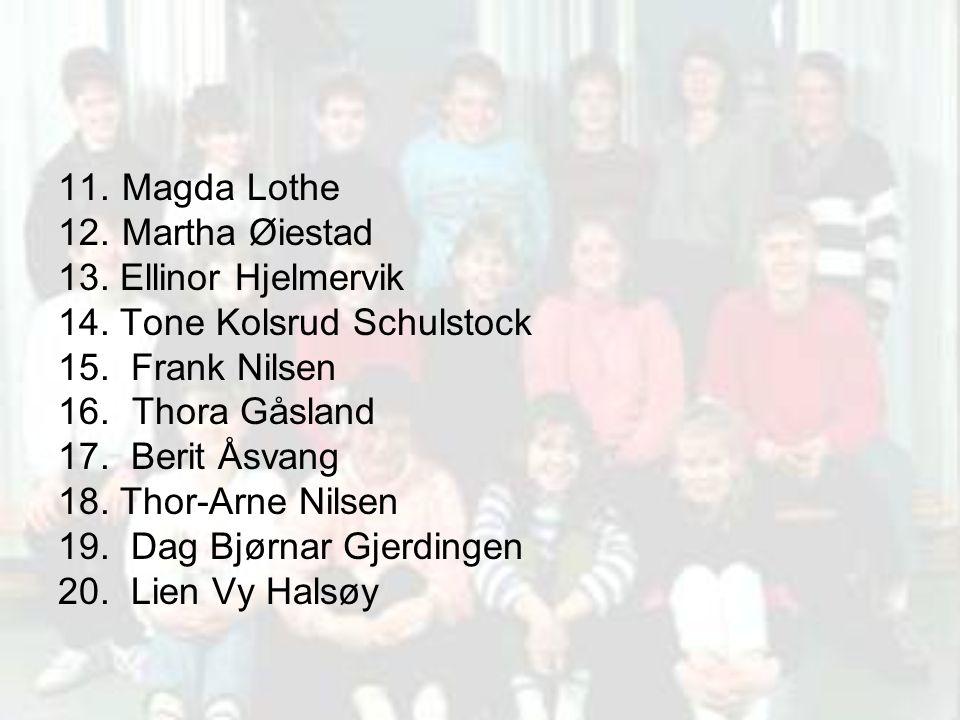 11. Magda Lothe 12. Martha Øiestad. 13. Ellinor Hjelmervik. 14. Tone Kolsrud Schulstock. 15. Frank Nilsen.
