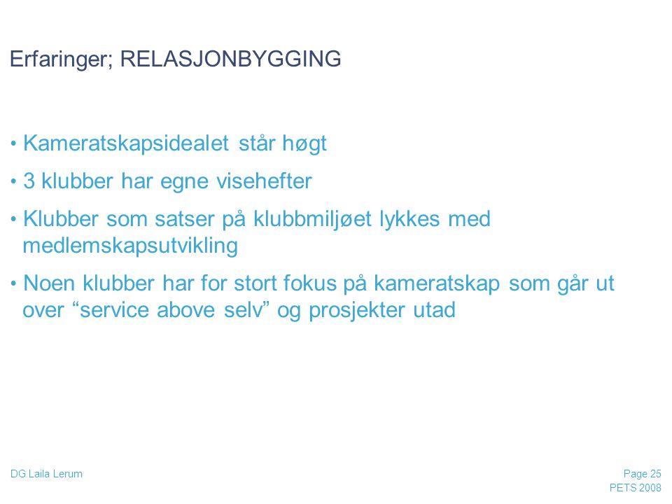 Erfaringer; RELASJONBYGGING