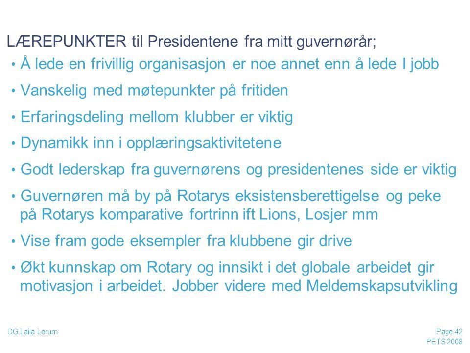 LÆREPUNKTER til Presidentene fra mitt guvernørår;