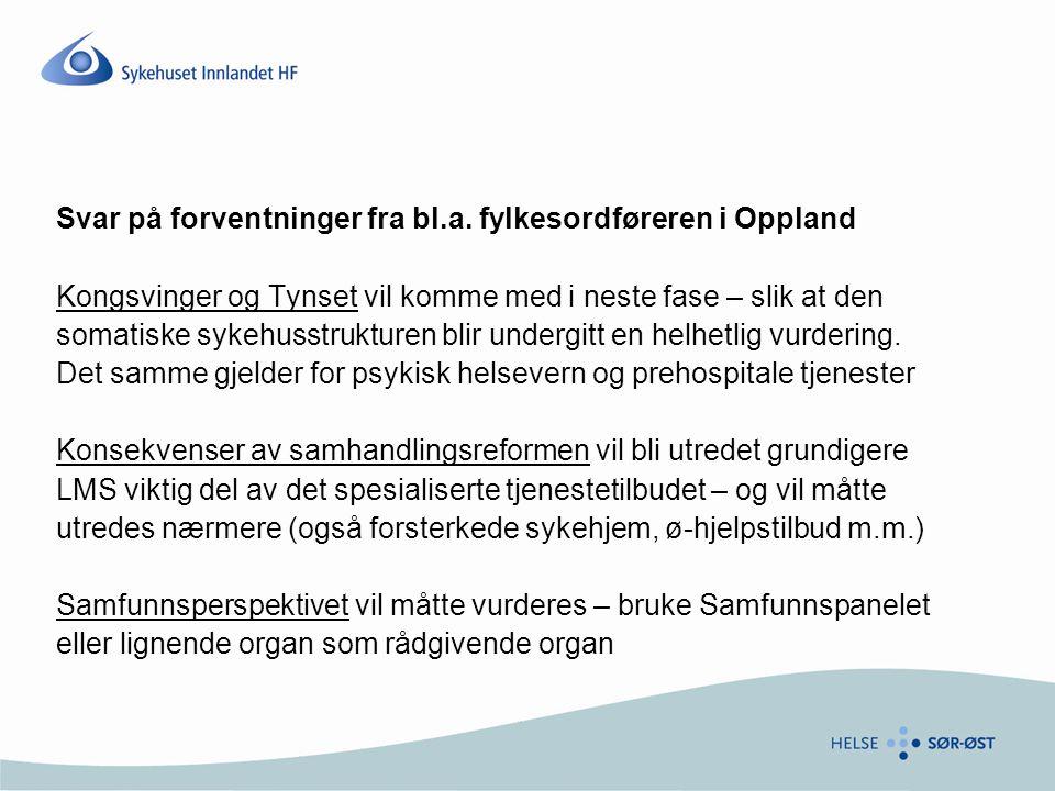 Svar på forventninger fra bl.a. fylkesordføreren i Oppland