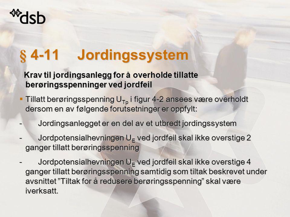 § 4-11 Jordingssystem Krav til jordingsanlegg for å overholde tillatte berøringsspenninger ved jordfeil.