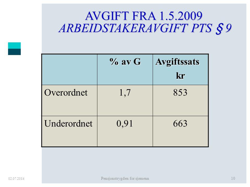 AVGIFT FRA 1.5.2009 ARBEIDSTAKERAVGIFT PTS § 9