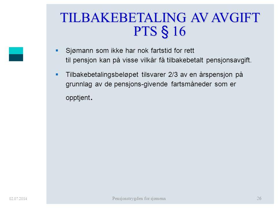 TILBAKEBETALING AV AVGIFT PTS § 16
