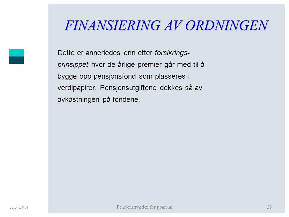FINANSIERING AV ORDNINGEN