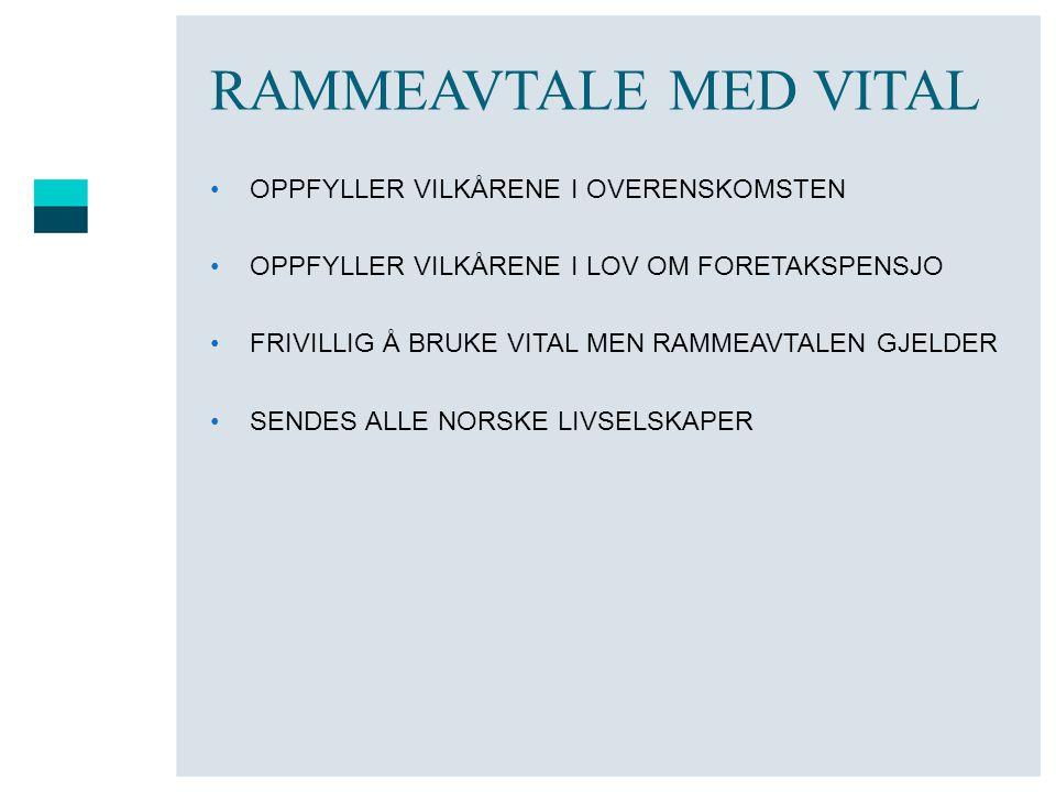 RAMMEAVTALE MED VITAL OPPFYLLER VILKÅRENE I OVERENSKOMSTEN