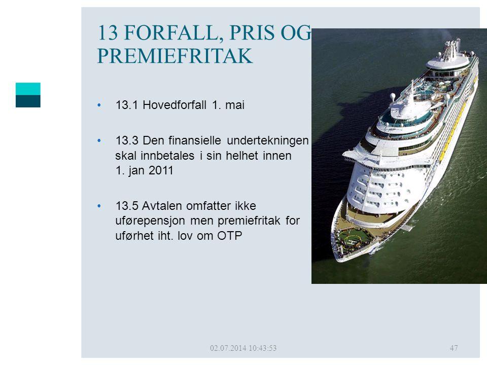13 FORFALL, PRIS OG PREMIEFRITAK