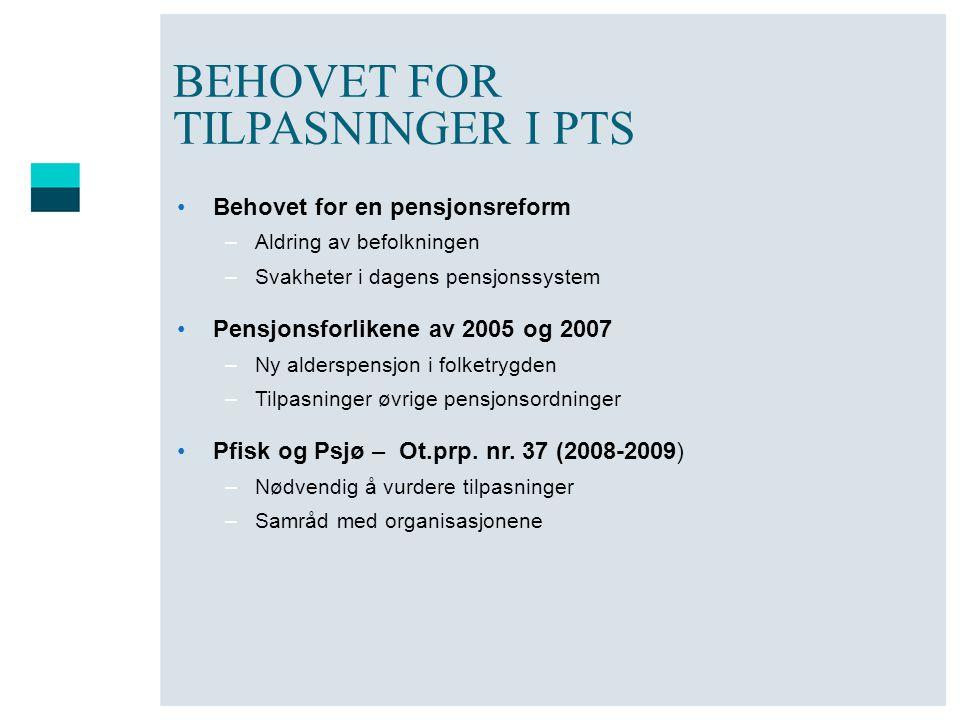 BEHOVET FOR TILPASNINGER I PTS
