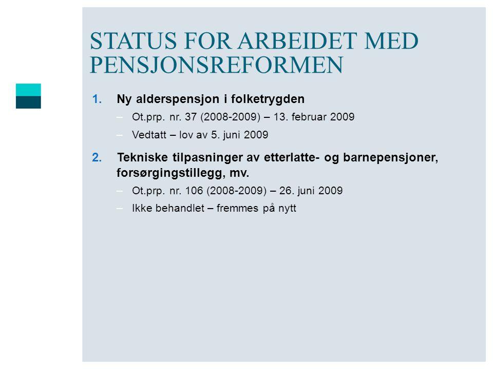 STATUS FOR ARBEIDET MED PENSJONSREFORMEN