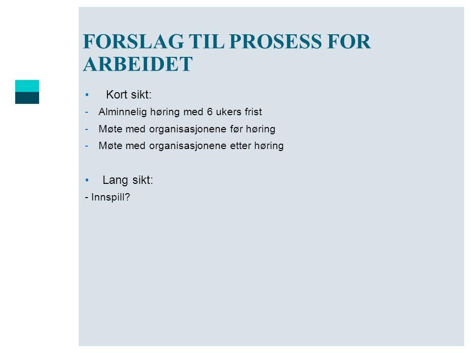 FORSLAG TIL PROSESS FOR ARBEIDET
