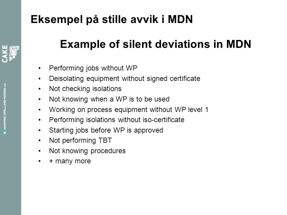 Example of silent deviations in MDN
