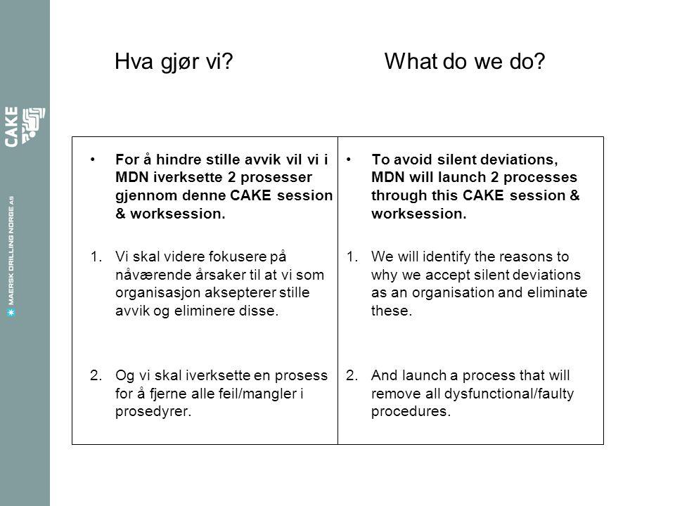 Hva gjør vi What do we do For å hindre stille avvik vil vi i MDN iverksette 2 prosesser gjennom denne CAKE session & worksession.