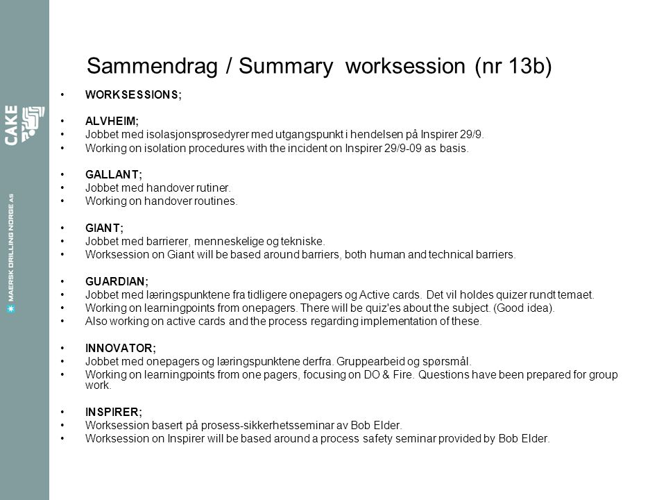 Sammendrag / Summary worksession (nr 13b)