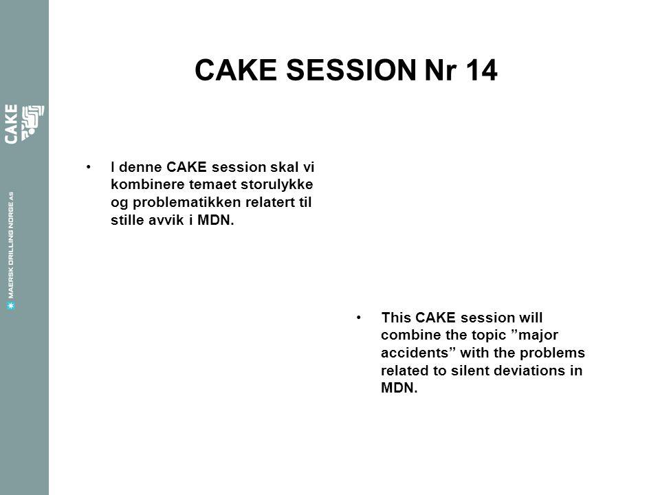 CAKE SESSION Nr 14 I denne CAKE session skal vi kombinere temaet storulykke og problematikken relatert til stille avvik i MDN.
