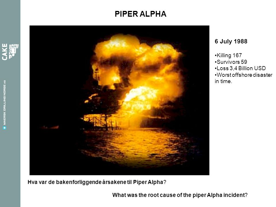 PIPER ALPHA 6 July 1988 Killing 167 Survivors 59 Loss 3,4 Billion USD