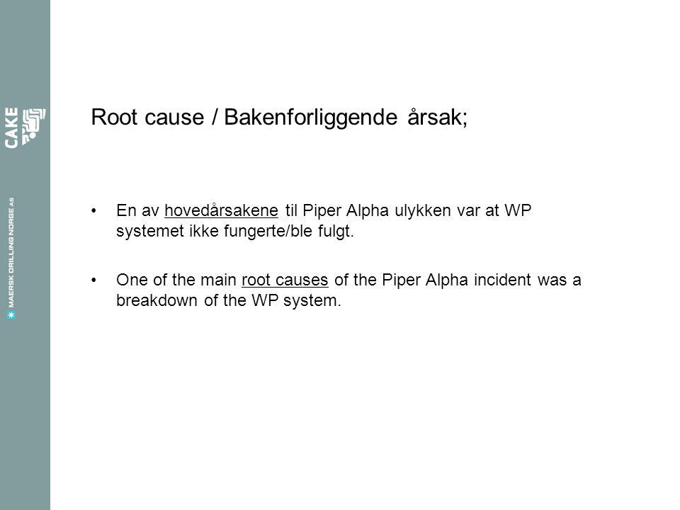 Root cause / Bakenforliggende årsak;