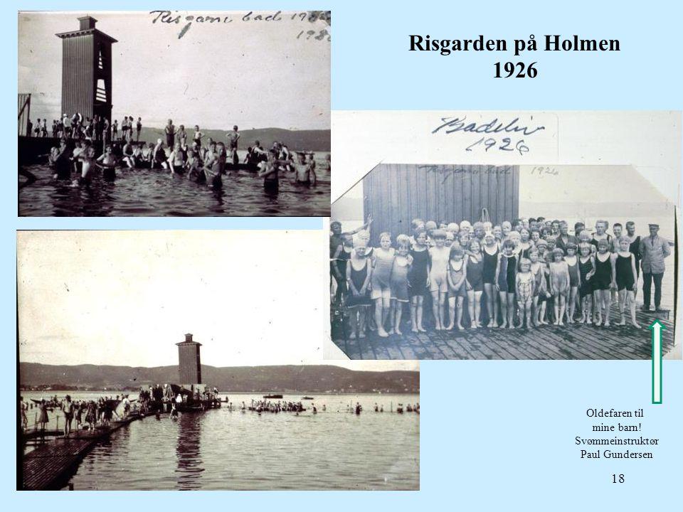 Risgarden på Holmen 1926 Oldefaren til mine barn! Svømmeinstruktør