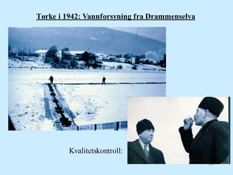 Tørke i 1942: Vannforsyning fra Drammenselva