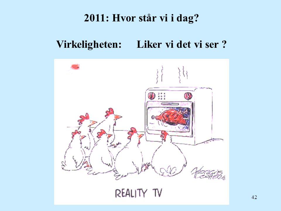 2011: Hvor står vi i dag Virkeligheten: Liker vi det vi ser