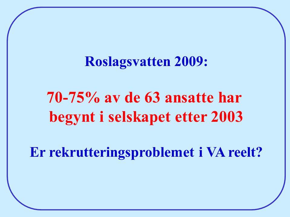 begynt i selskapet etter 2003 Er rekrutteringsproblemet i VA reelt