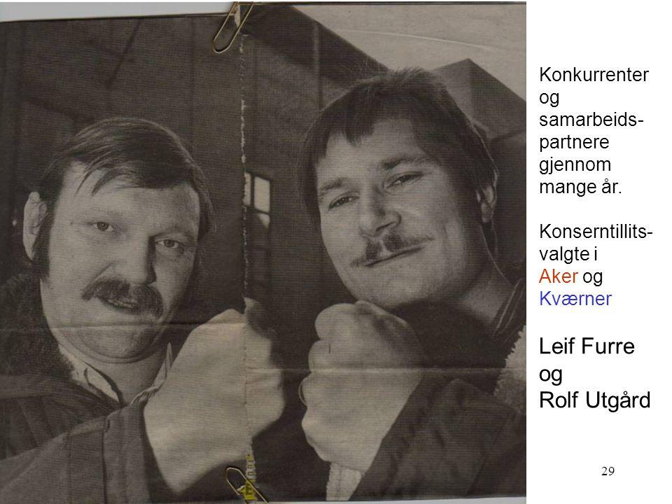 Leif Furre Rolf Utgård Konkurrenter og samarbeids- partnere gjennom
