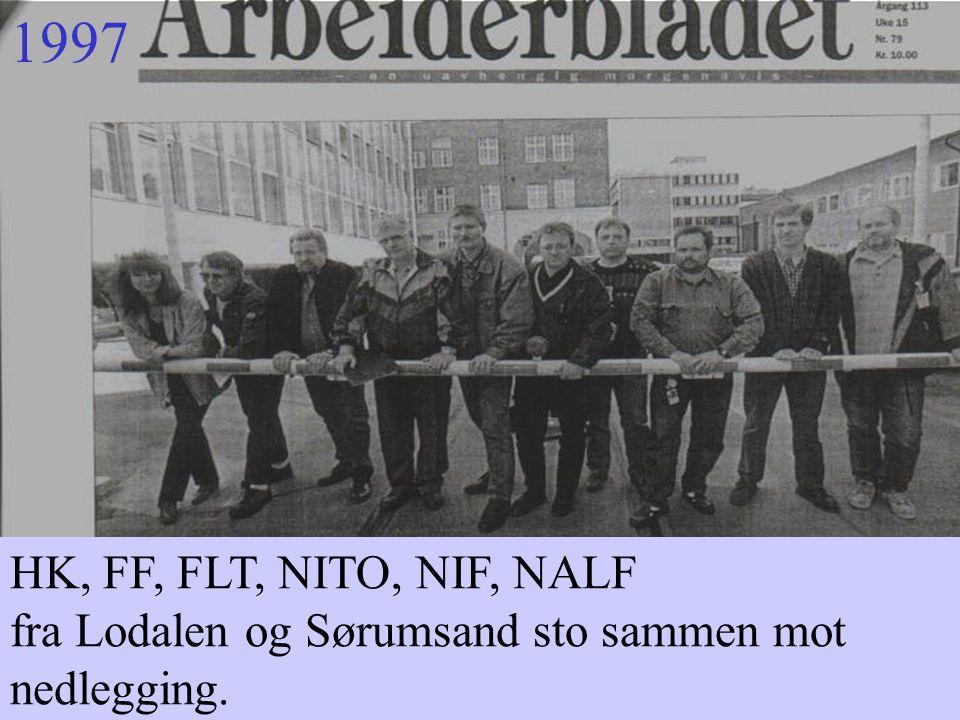 1997 HK, FF, FLT, NITO, NIF, NALF fra Lodalen og Sørumsand sto sammen mot nedlegging.