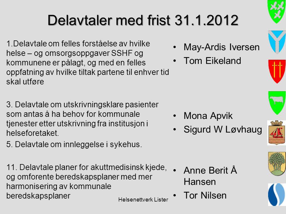 Delavtaler med frist 31.1.2012 May-Ardis Iversen Tom Eikeland