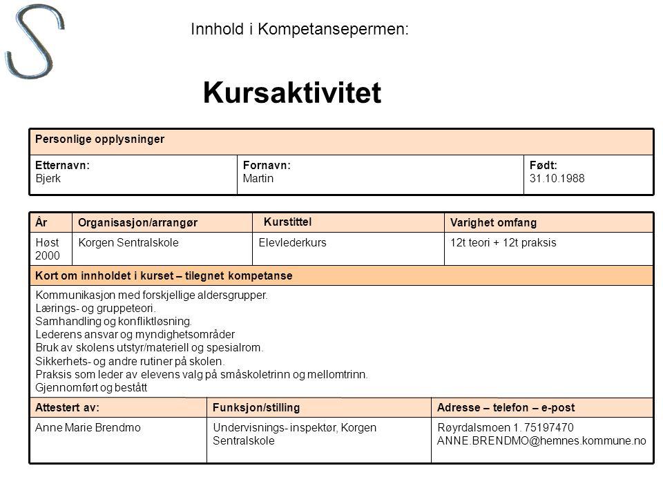 Kursaktivitet Innhold i Kompetansepermen: Født: 31.10.1988 Fornavn: