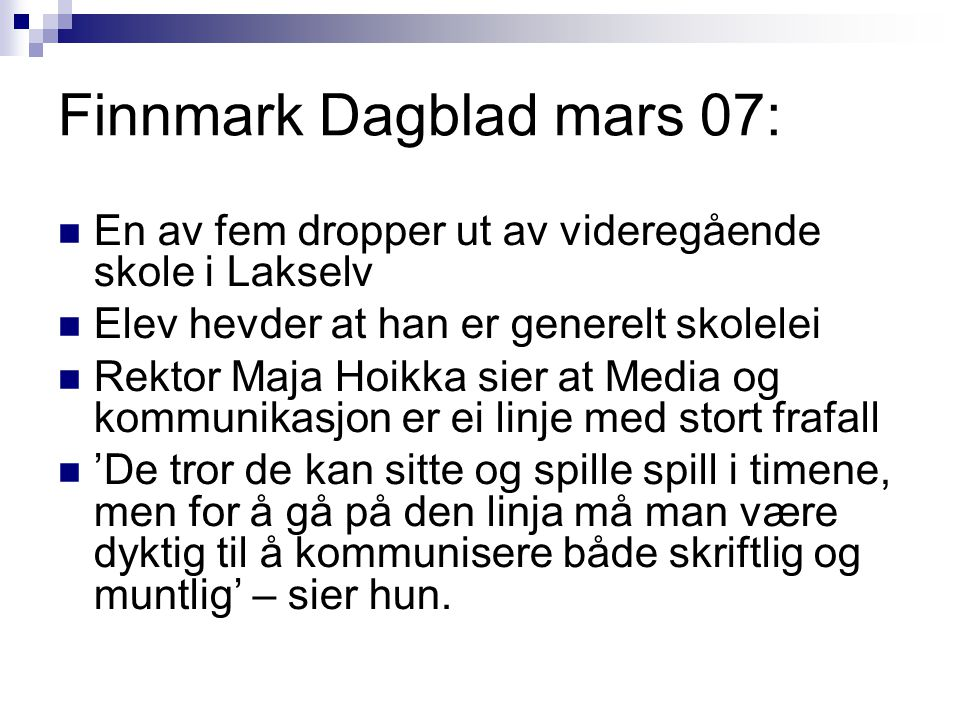 Finnmark Dagblad mars 07: