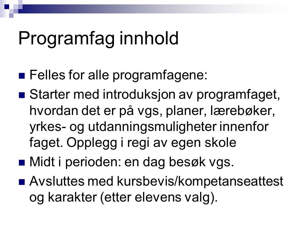 Programfag innhold Felles for alle programfagene: