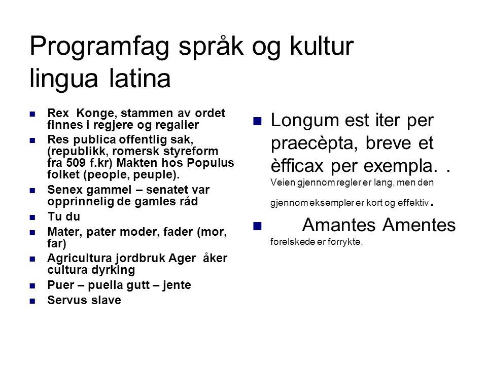 Programfag språk og kultur lingua latina