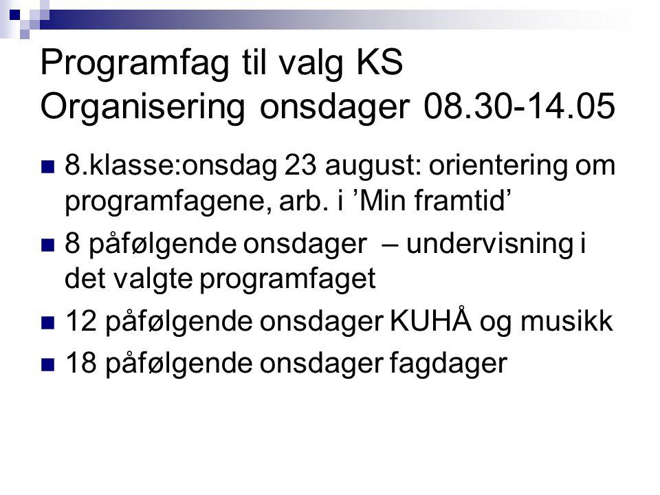 Programfag til valg KS Organisering onsdager 08.30-14.05