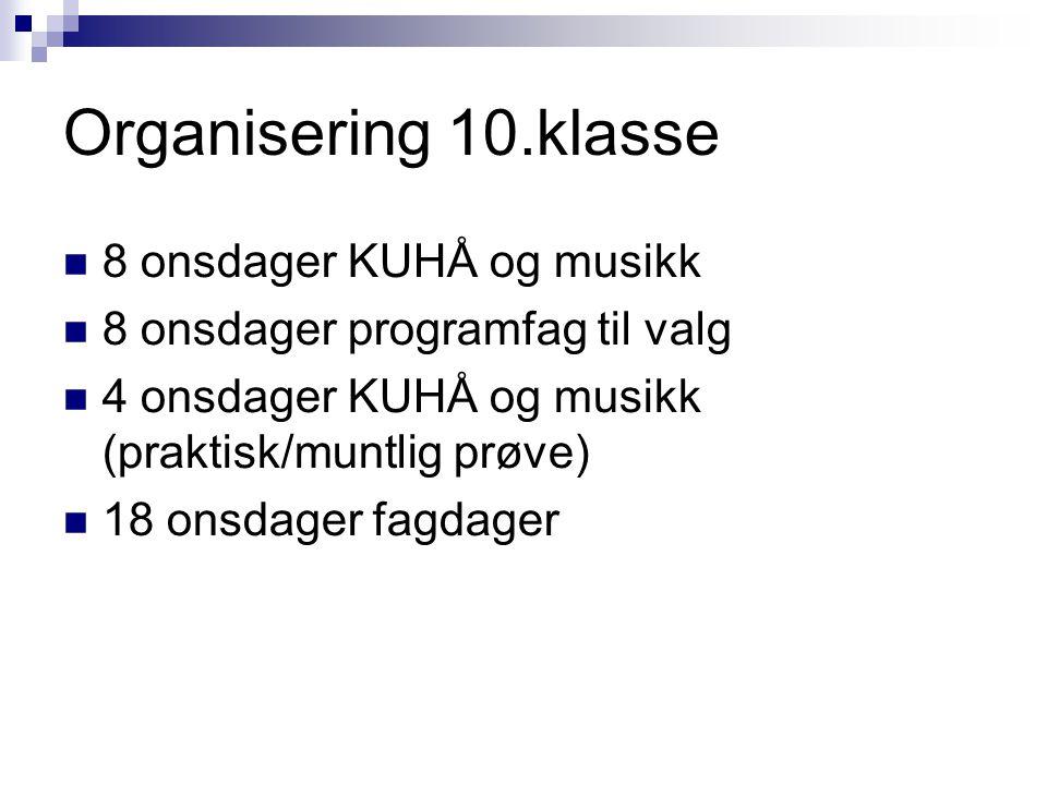 Organisering 10.klasse 8 onsdager KUHÅ og musikk
