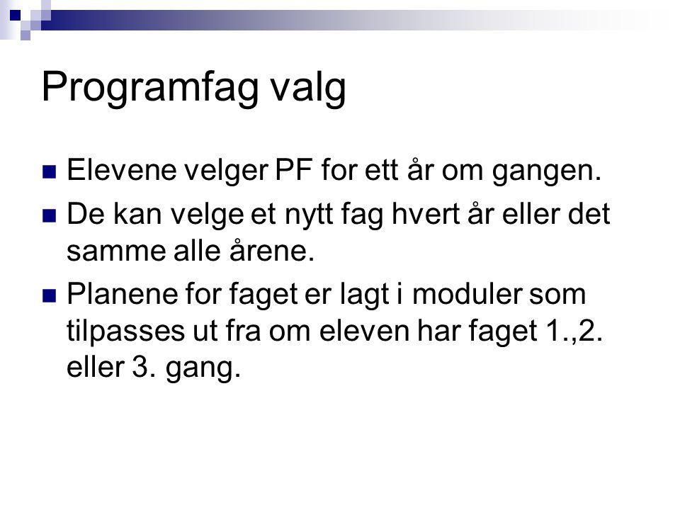 Programfag valg Elevene velger PF for ett år om gangen.